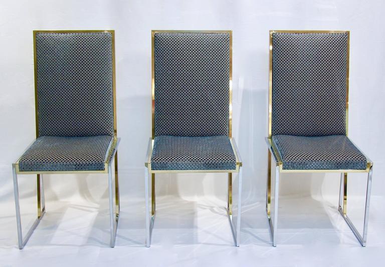 Minimalist Liwan's 1970s Italian 6 Blue & Satin White Fabric Brass & Chrome Modern Chairs For Sale