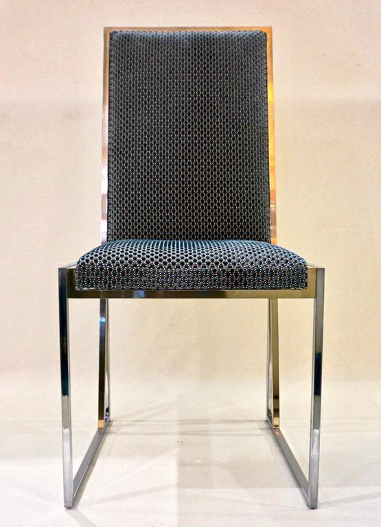 Liwan's 1970s Italian 6 Blue & Satin White Fabric Brass & Chrome Modern Chairs For Sale 3