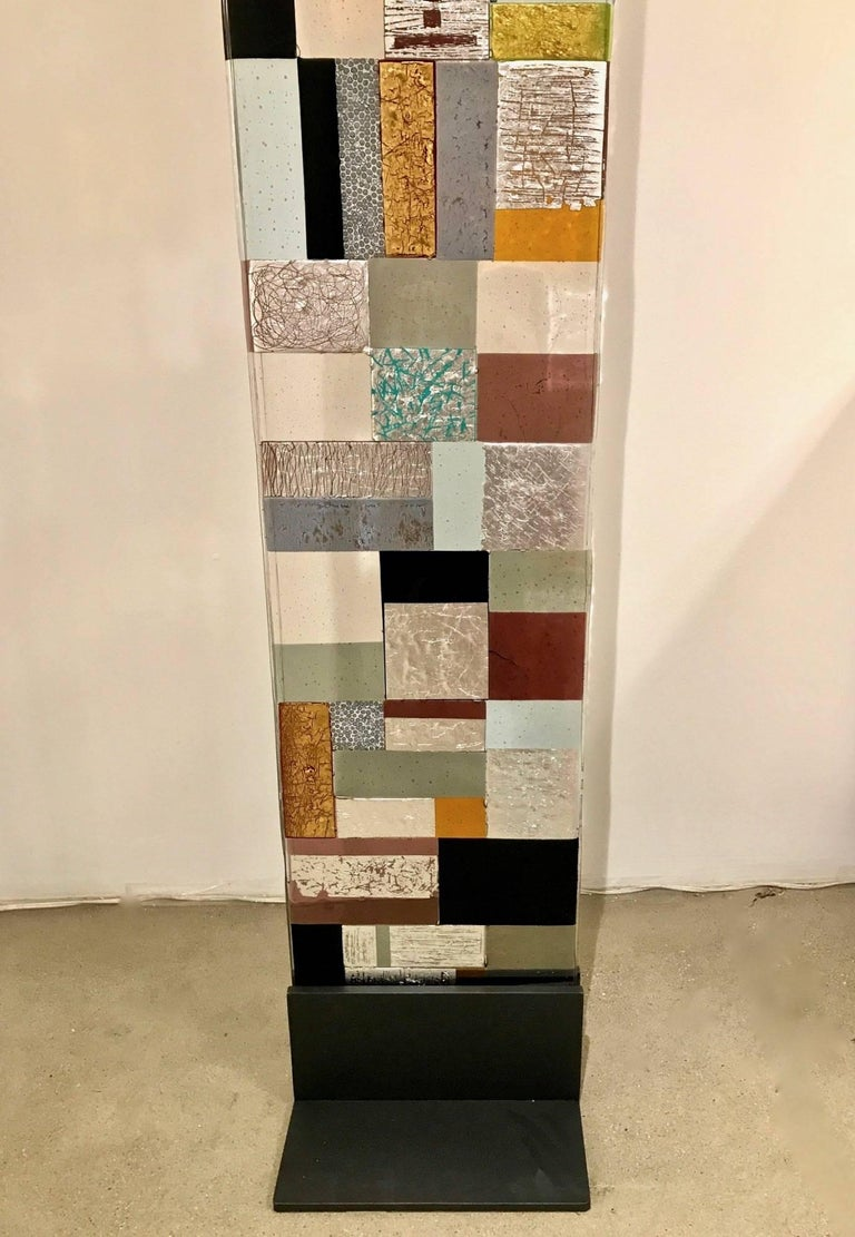 Contemporary Italian Murano Glass Silver Gold Colorful Mosaic Panel Sculpture In Excellent Condition For Sale In New York, NY