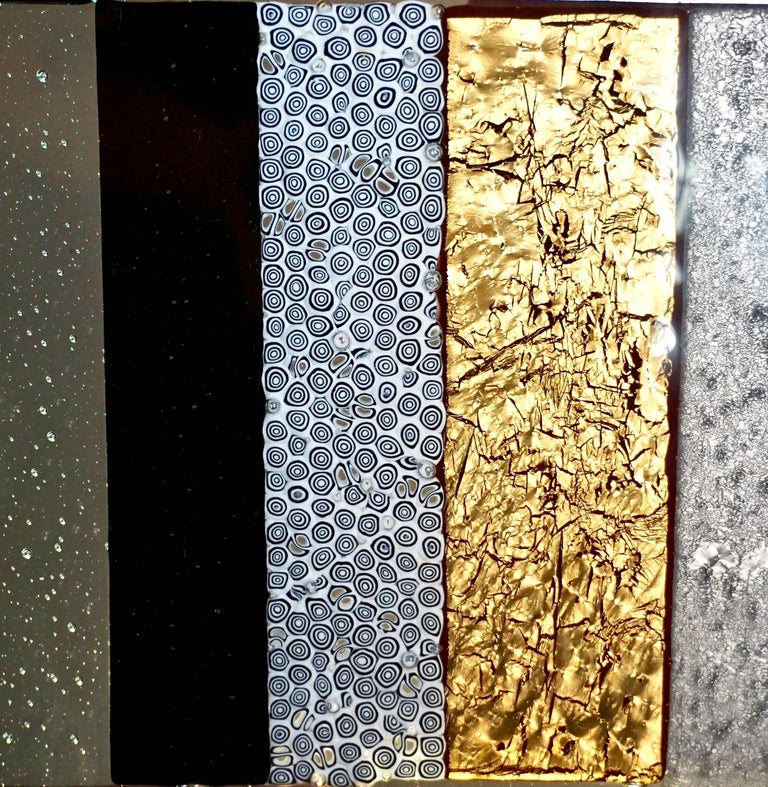 Contemporary Italian Murano Glass Silver Gold Colorful Mosaic Panel Sculpture For Sale 1