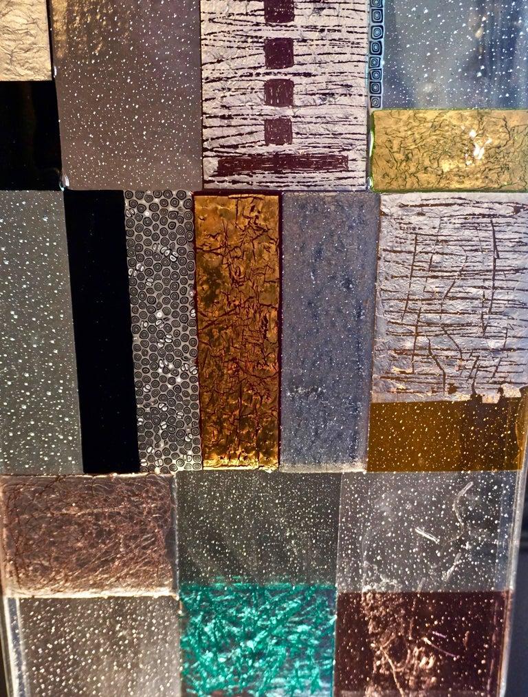 Murrine Contemporary Italian Murano Glass Silver Gold Colorful Mosaic Panel Sculpture For Sale