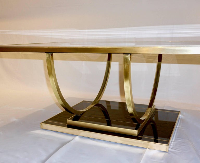 Contemporary Art Deco Italian Black Glass And Brass Coffee Table On Curved Legs For Sale At 1stdibs