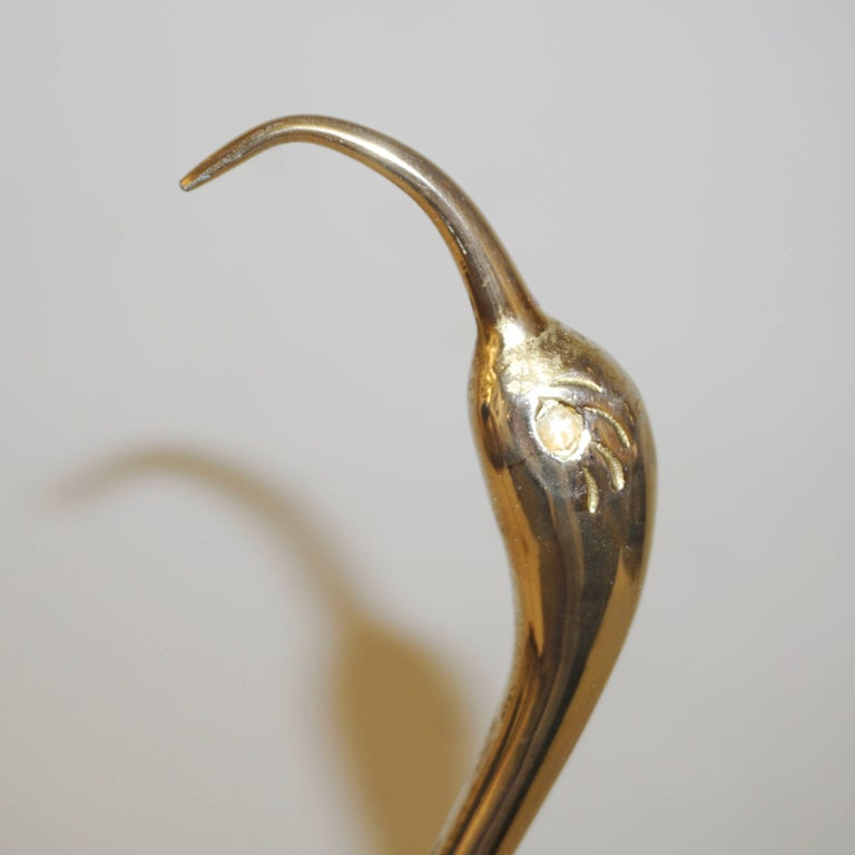 Mid-20th Century Antonio Pavia 1960 Italian Gold and Brown Enameled Brass Flamingo Bird Sculpture For Sale