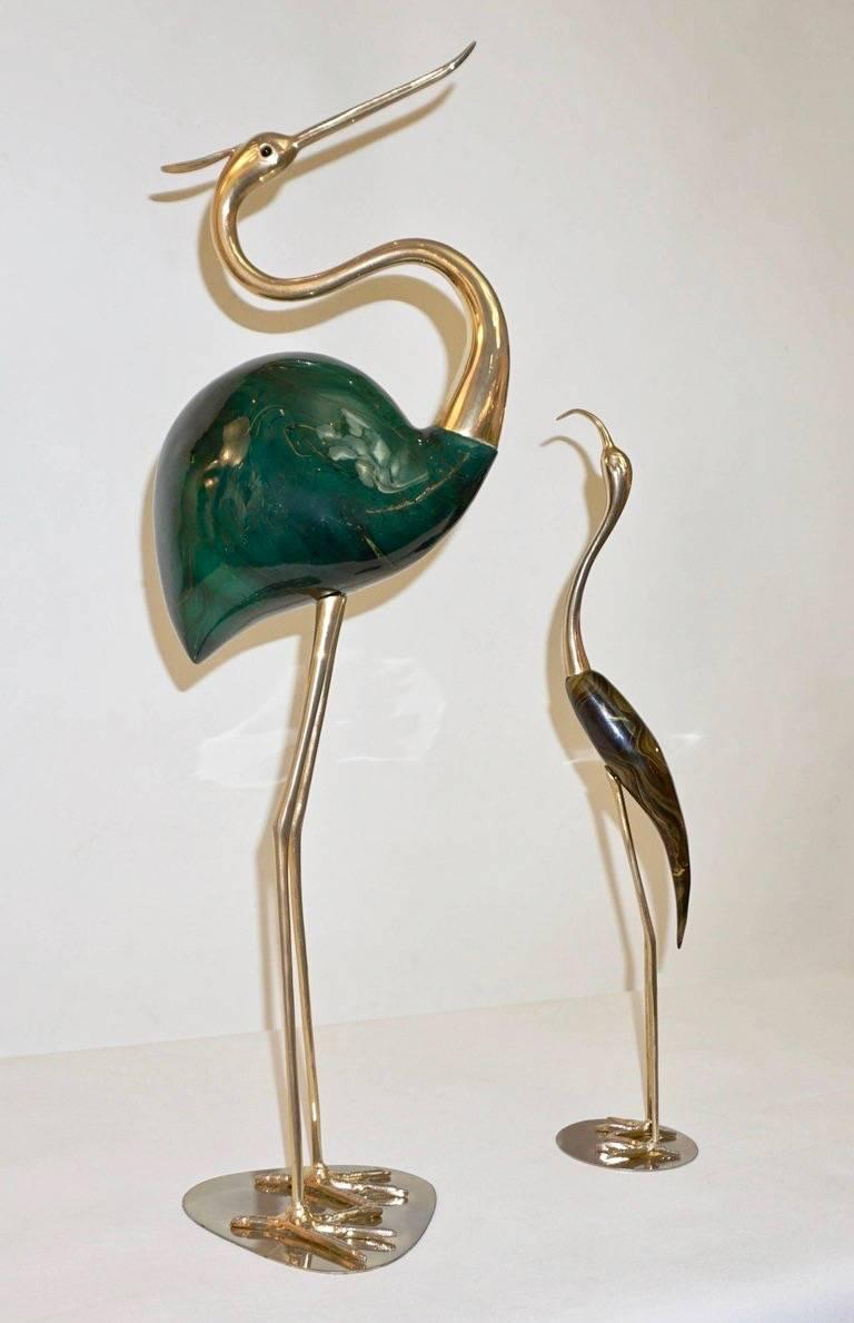 Organic Modern Antonio Pavia 1960 Italian Gold and Brown Enameled Brass Flamingo Bird Sculpture For Sale