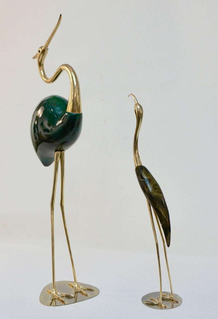 Antonio Pavia 1960 Italian Gold and Brown Enameled Brass Flamingo Bird Sculpture For Sale 3
