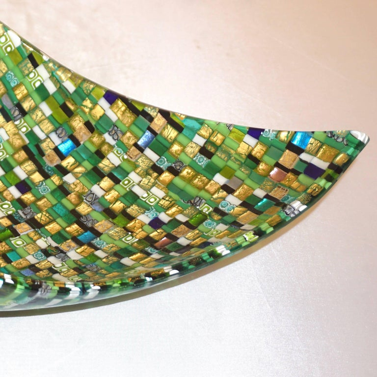 Modern Italian Jewel-Like Green Yellow & 24Kt Gold Murano Art Glass Mosaic Bowl In Excellent Condition For Sale In New York, NY