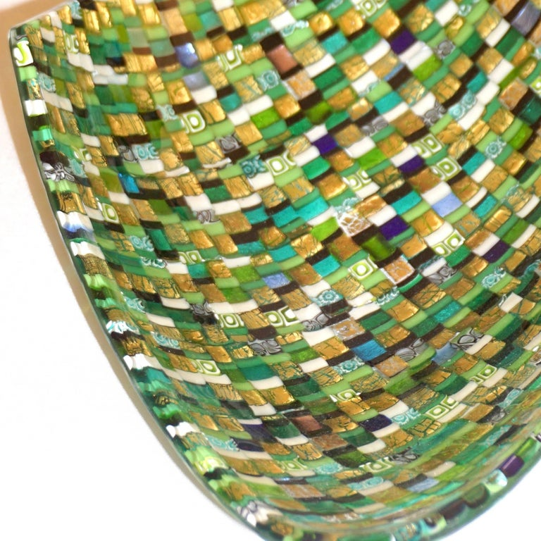 Modern Italian Jewel-Like Green Yellow & 24Kt Gold Murano Art Glass Mosaic Bowl For Sale 1