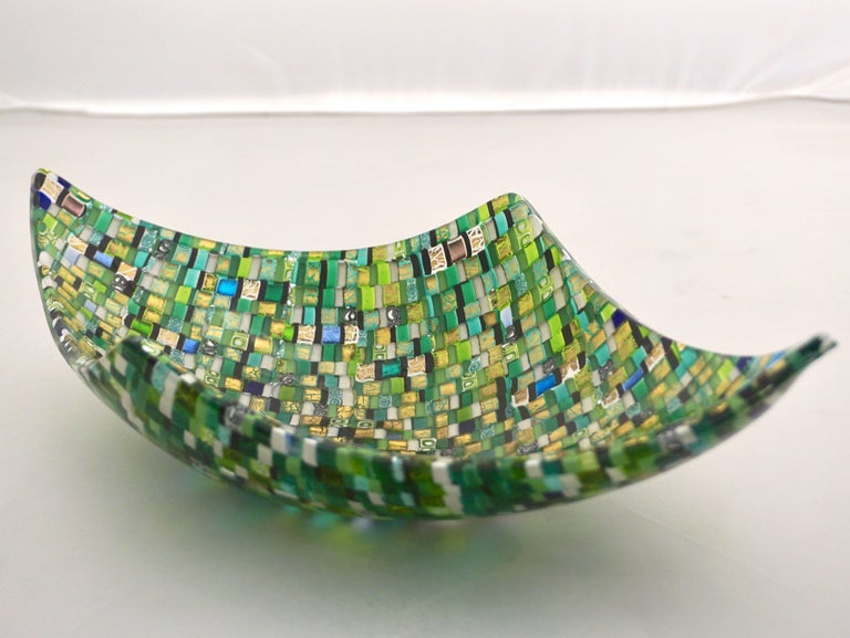 Organic Modern Modern Italian Jewel-Like Green Yellow & 24Kt Gold Murano Art Glass Mosaic Bowl For Sale