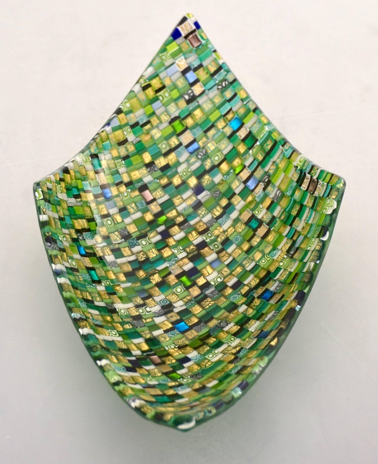 Gold Leaf Modern Italian Jewel-Like Green Yellow & 24Kt Gold Murano Art Glass Mosaic Bowl For Sale