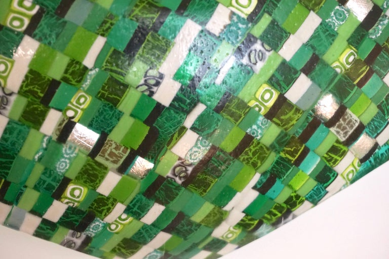 Hand-Crafted Modern Italian Jewel-Like Green Yellow & 24Kt Gold Murano Art Glass Mosaic Bowl For Sale
