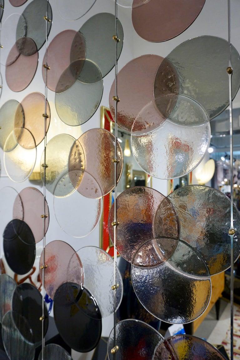 Hand-Crafted Organic Modern Italian Geometric Black Pink Aqua Murano Glass Curtain or Divider For Sale