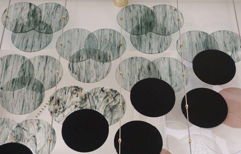 Organic Modern Italian Geometric Black Pink Aqua Murano Glass Curtain or Divider For Sale 4