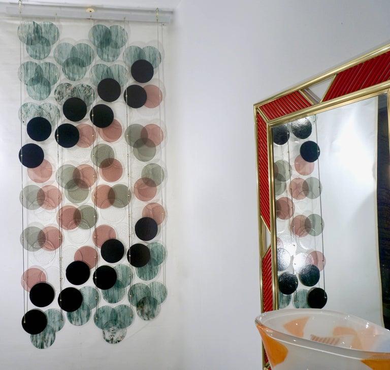 Organic Modern Italian Geometric Black Pink Aqua Murano Glass Curtain or Divider For Sale 2