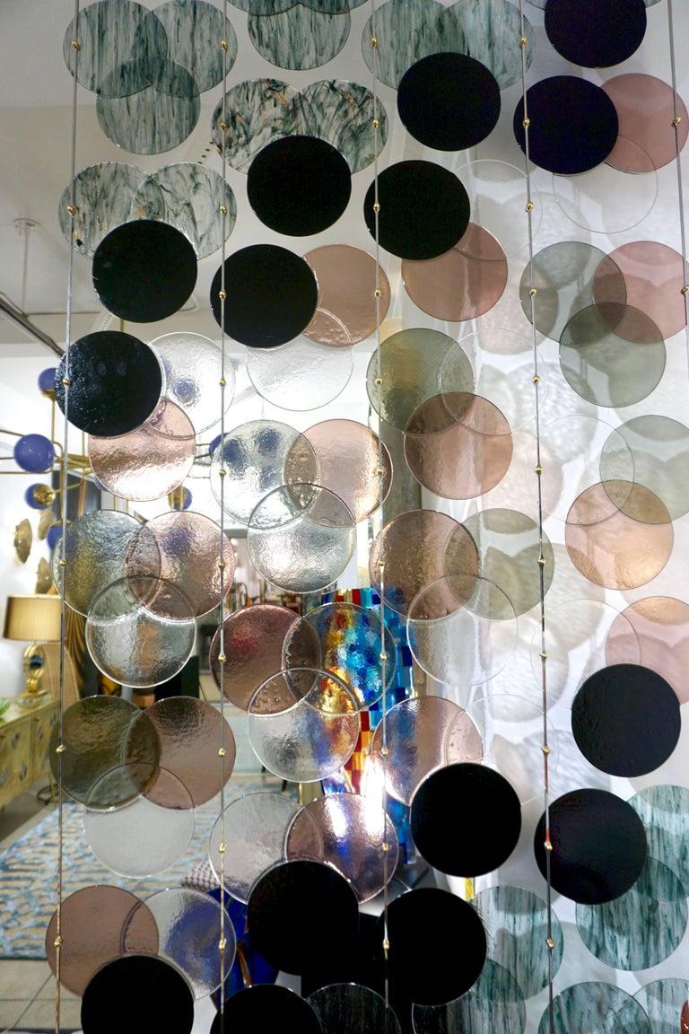 Organic Modern Italian Geometric Black Pink Aqua Murano Glass Curtain or Divider For Sale 3