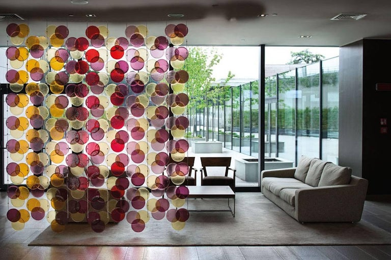 This customizable Murano glass curtain in black, amethyst, clear, gray and aqua tints worked with avventurina, a contemporary work of art as a very decorative solution for a screen or room divider, is composed of geometric elements that can also be