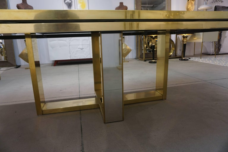 Late 20th Century Sinopoli 1970s Italian Brass Satin & Chrome Geometric Large Dining / Hall Table For Sale