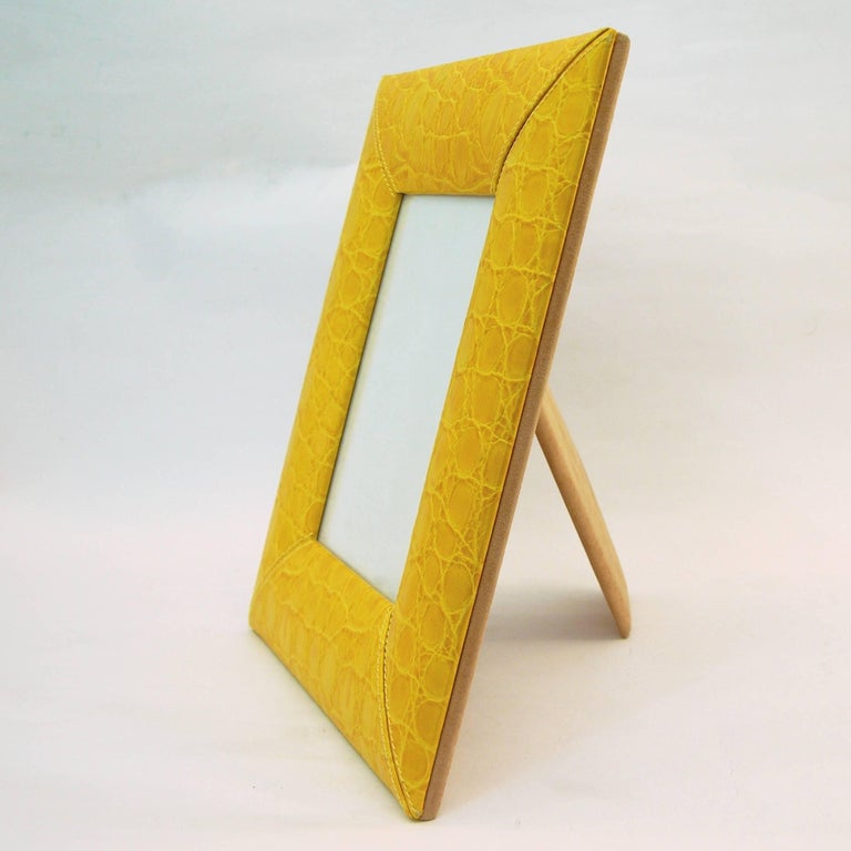1990s Paciotti Italian Couture Yellow Embossed Leather Fashion Photo Frame In Excellent Condition For Sale In New York, NY