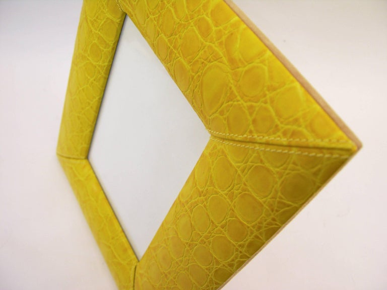 1990s Paciotti Italian Couture Yellow Embossed Leather Fashion Photo Frame For Sale 1