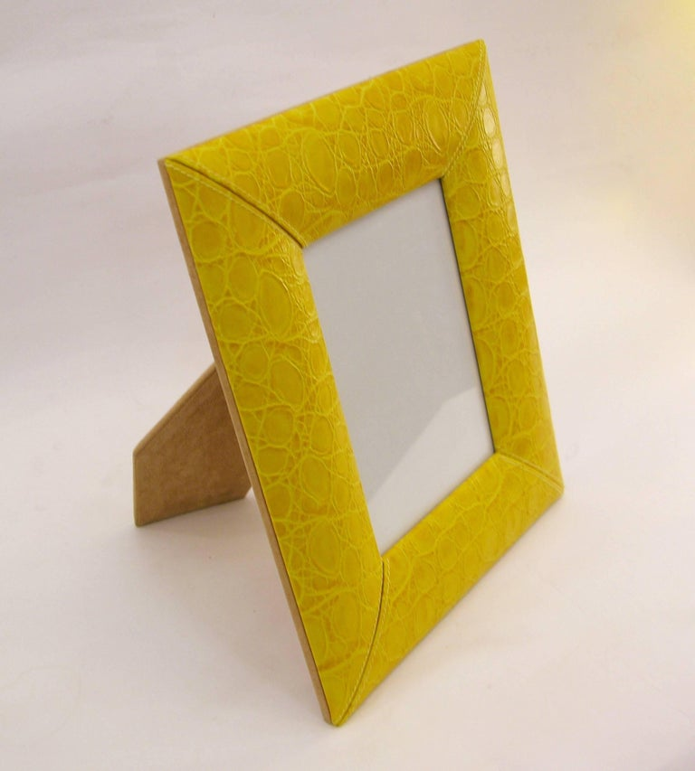 1990s Paciotti Italian Couture Yellow Embossed Leather Fashion Photo Frame For Sale 3