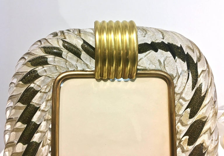 1970s Barovier Toso Vintage Brown Black and Gold Murano Glass Photo Frame In Excellent Condition For Sale In New York, NY