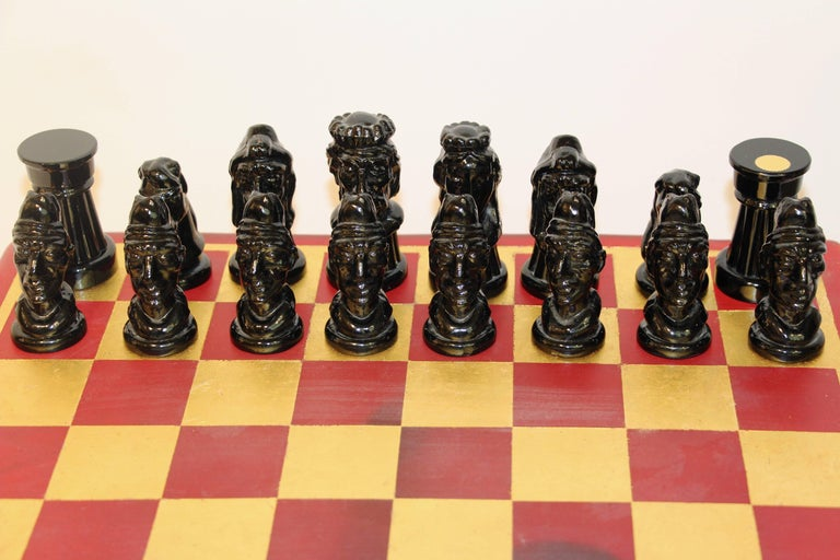 Hand-Crafted 1980s Nason & Toso White and Black Murano Glass Chess Set on Red and Gold Board For Sale