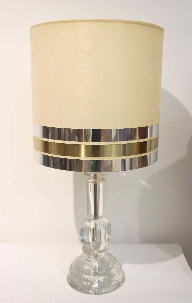 Late 20th Century 1970s Italian Vintage Pair of Crystal Glass Table Lamps with Organic Design For Sale