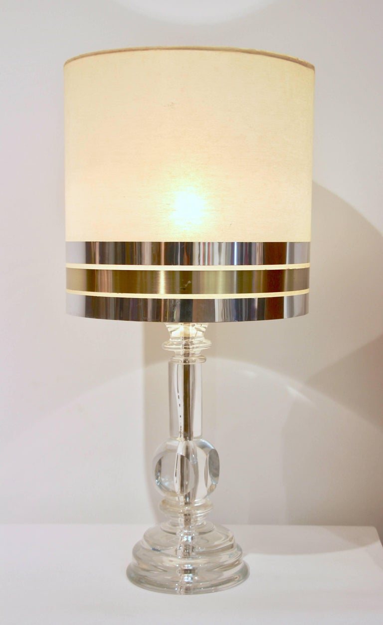 1970s Italian Vintage Pair of Crystal Glass Table Lamps with Organic Design In Excellent Condition For Sale In New York, NY