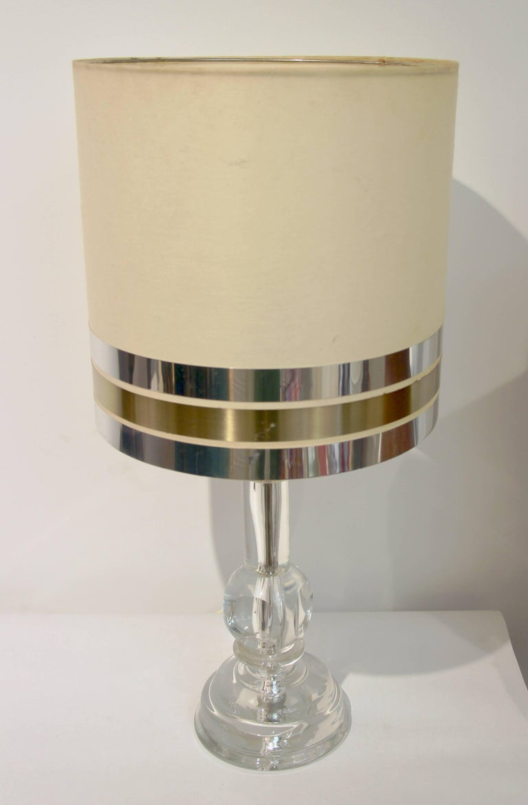 Brass 1970s Italian Vintage Pair of Crystal Glass Table Lamps with Organic Design For Sale