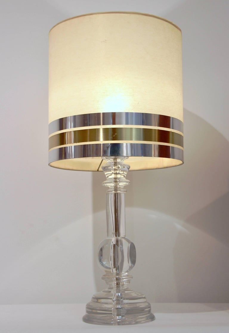 Hand-Carved 1970s Italian Vintage Pair of Crystal Glass Table Lamps with Organic Design For Sale