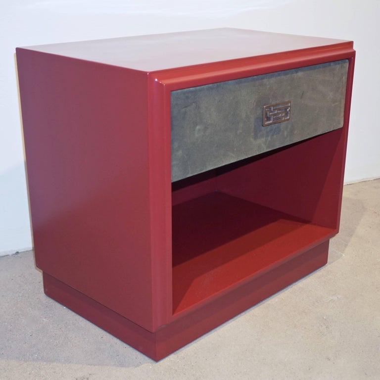 Hand-Crafted 1970s Italian Green Leather Burgundy Side Tables with Mirror and Bronze Accents For Sale