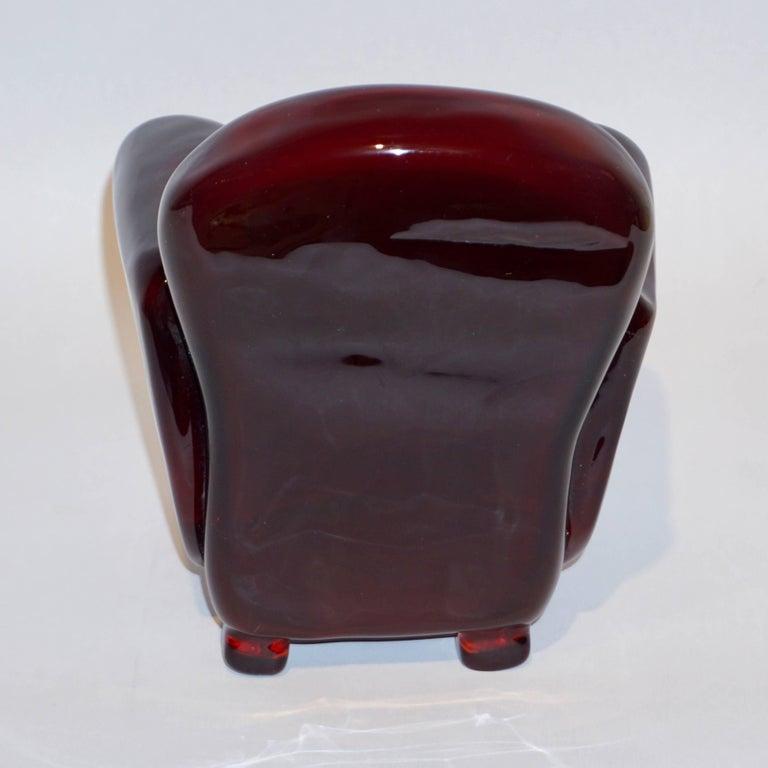 Late 20th Century Pino Signoretto 1980s Italian Burgundy Red Murano Glass Miniature Armchair For Sale
