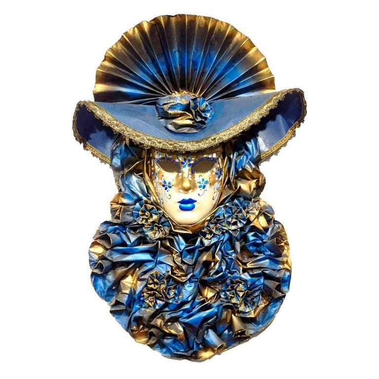 Hand-Painted Italian Modern Venetian Carnival Handmade Blue Mask with Flower Pleated Jabot For Sale