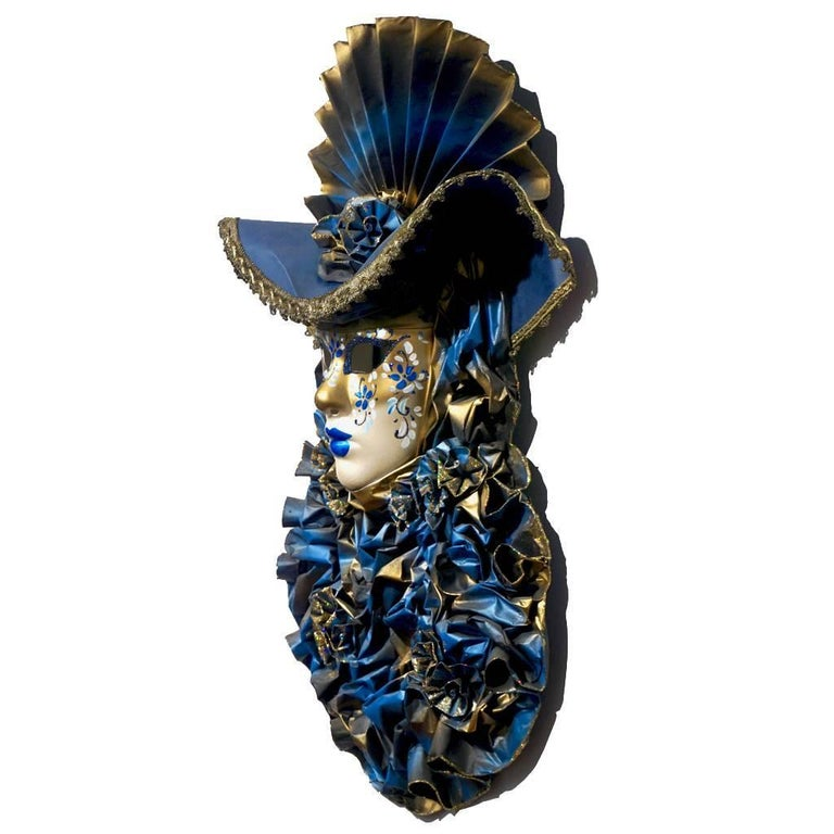 Baroque Italian Modern Venetian Carnival Handmade Blue Mask with Flower Pleated Jabot For Sale