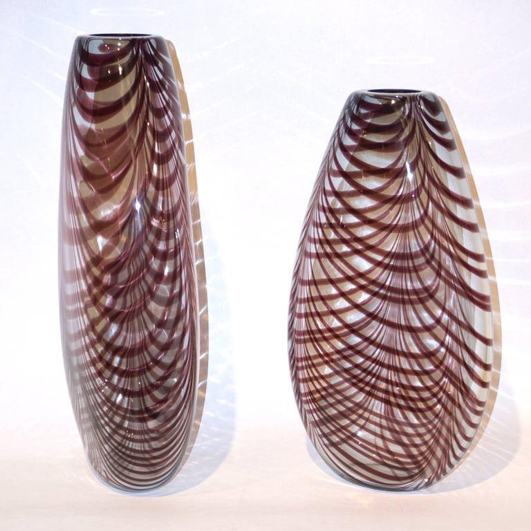 Formia 1970s Two Fenicio Feather Decorated Purple Brown Murano Art Glass Vases  For Sale 1