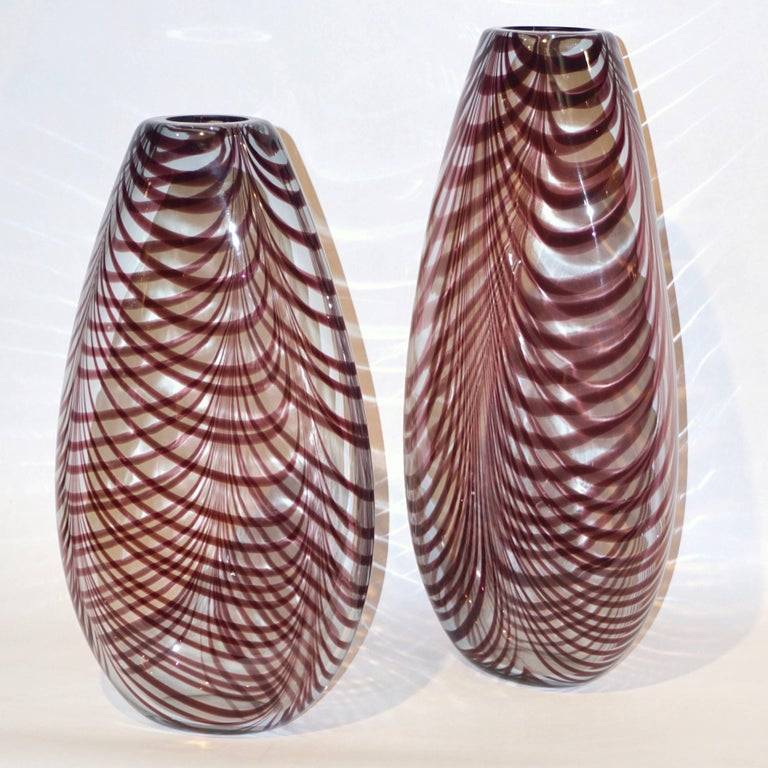 Organic Modern Formia 1970s Two Fenicio Feather Decorated Purple Brown Murano Art Glass Vases  For Sale