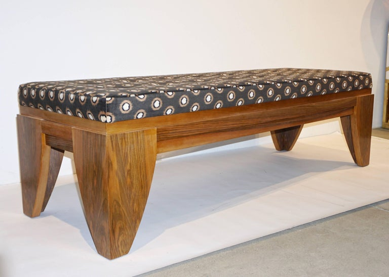 Organic Modern Smania 1970s Vintage Italian Brown and White Modern Design Bench in Solid Walnut For Sale