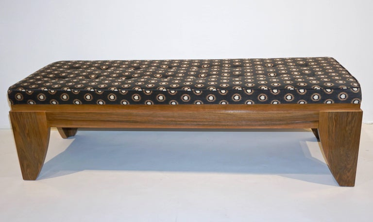 Hand-Crafted Smania 1970s Vintage Italian Brown and White Modern Design Bench in Solid Walnut For Sale