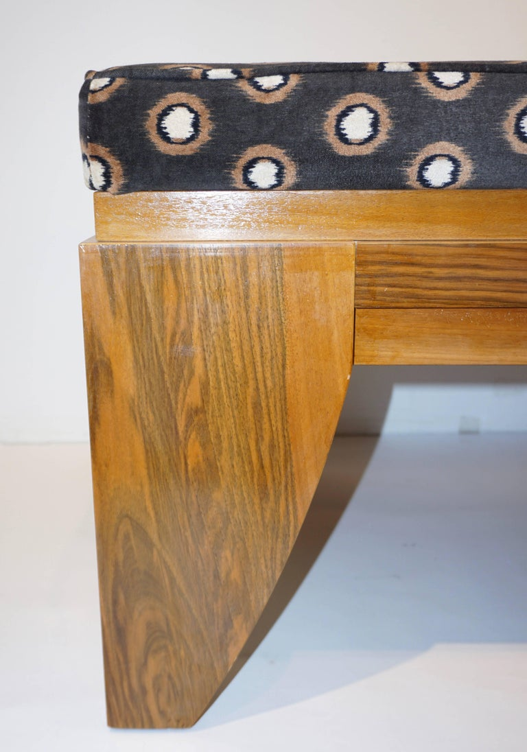 Smania 1970s Vintage Italian Brown and White Modern Design Bench in Solid Walnut For Sale 1