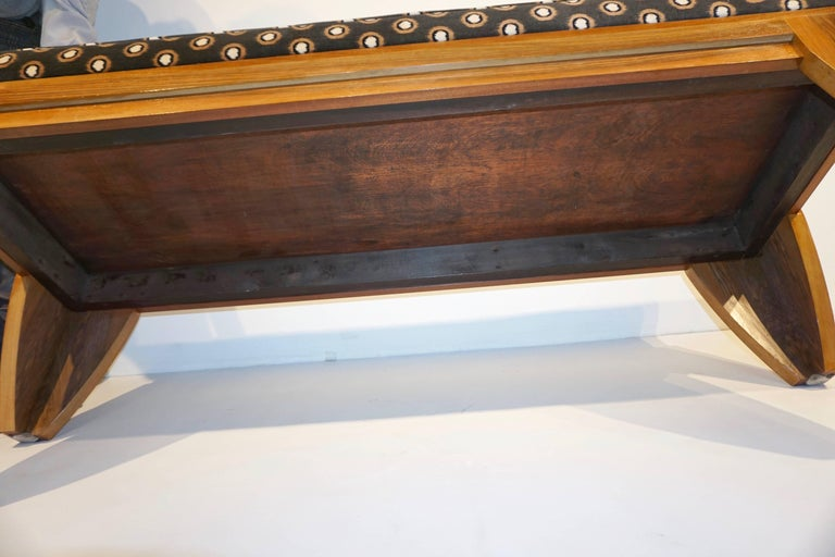 Smania 1970s Vintage Italian Brown and White Modern Design Bench in Solid Walnut For Sale 2