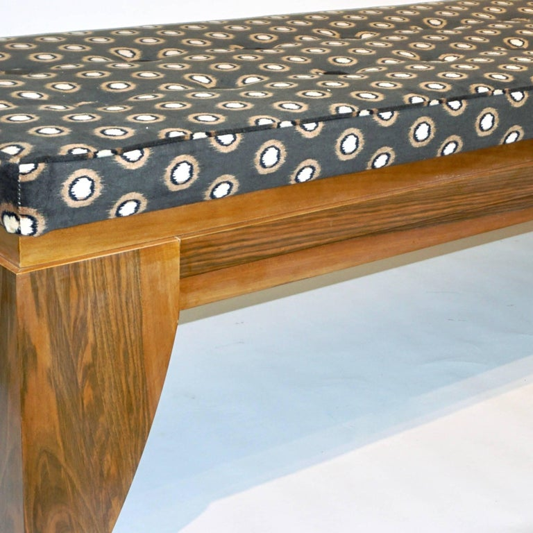 Smania 1970s Vintage Italian Brown and White Modern Design Bench in Solid Walnut For Sale 3