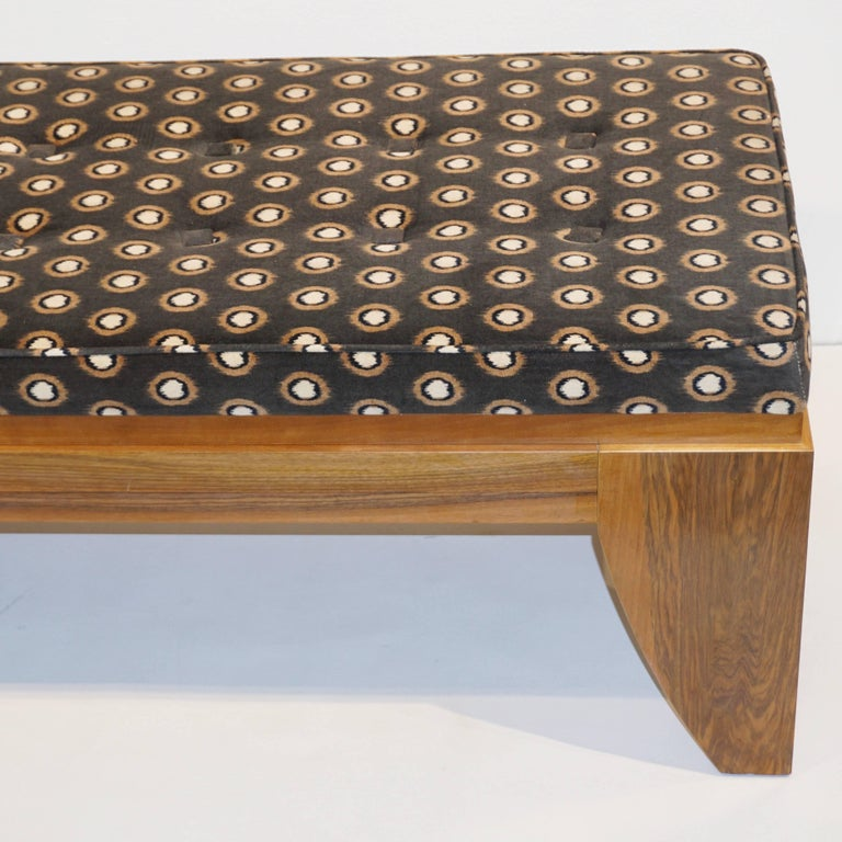 Smania 1970s Vintage Italian Brown and White Modern Design Bench in Solid Walnut For Sale 4