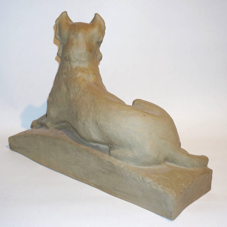 Stoneware Charles Virion 1920 Antique Gray Terracotta Sculpture of a German Shepherd Dog For Sale
