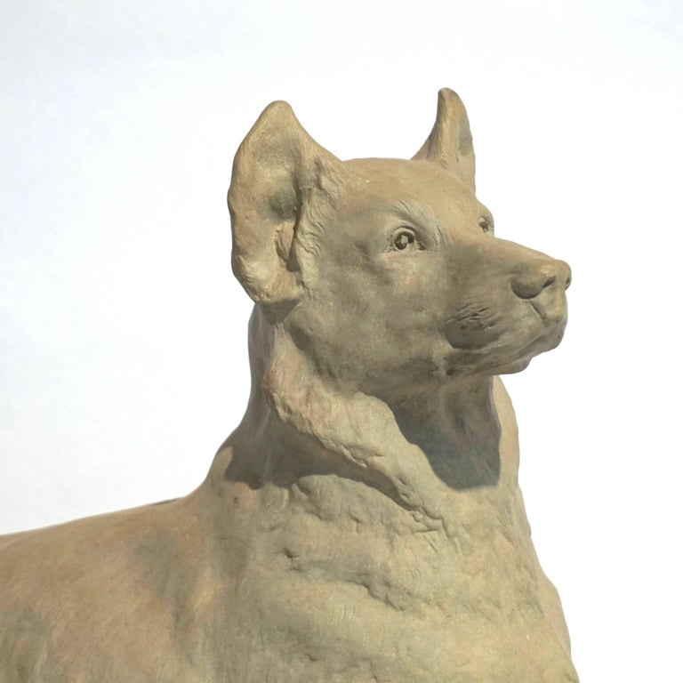French Charles Virion 1920 Antique Gray Terracotta Sculpture of a German Shepherd Dog For Sale