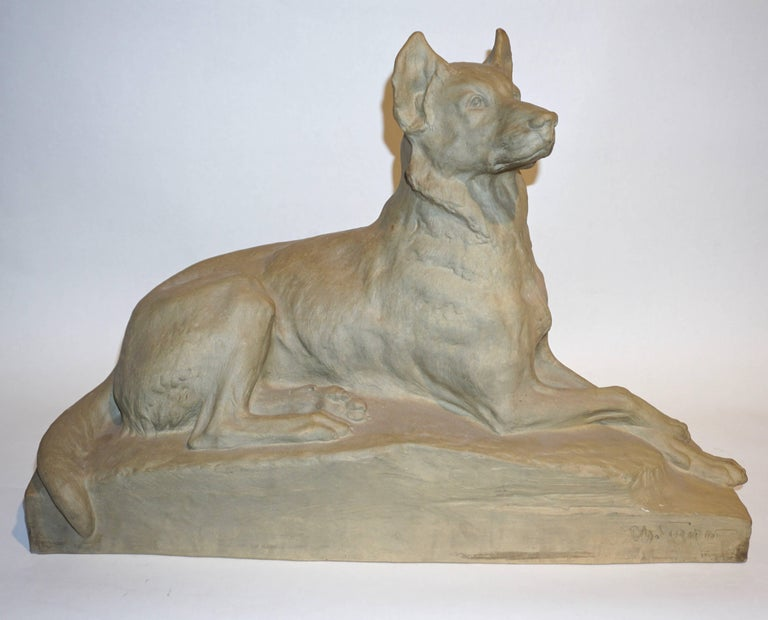 Charles Virion 1920 Antique Gray Terracotta Sculpture of a German Shepherd Dog For Sale 1