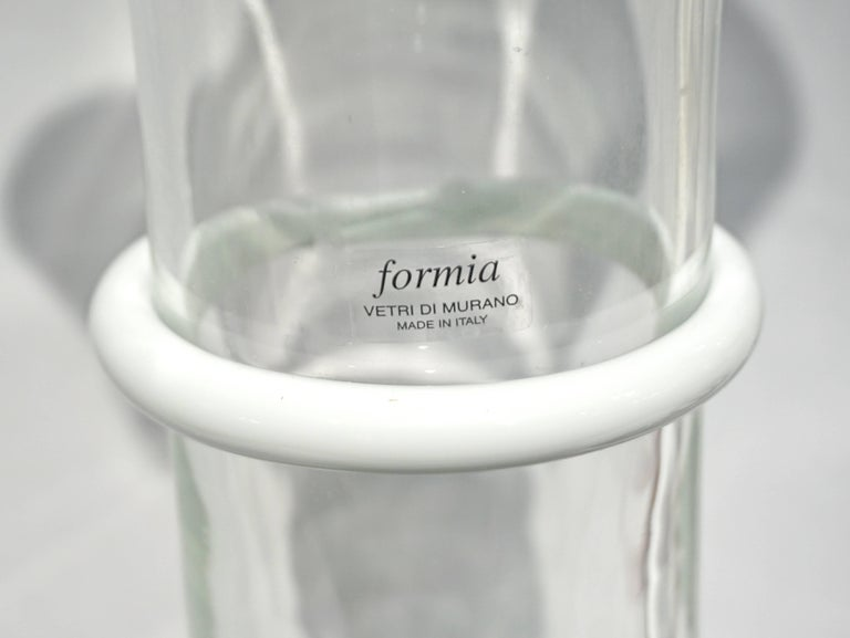 Mid-Century Modern Formia Italian 1970s Vintage White Crystal Clear Murano Glass Tall Flared Vase For Sale