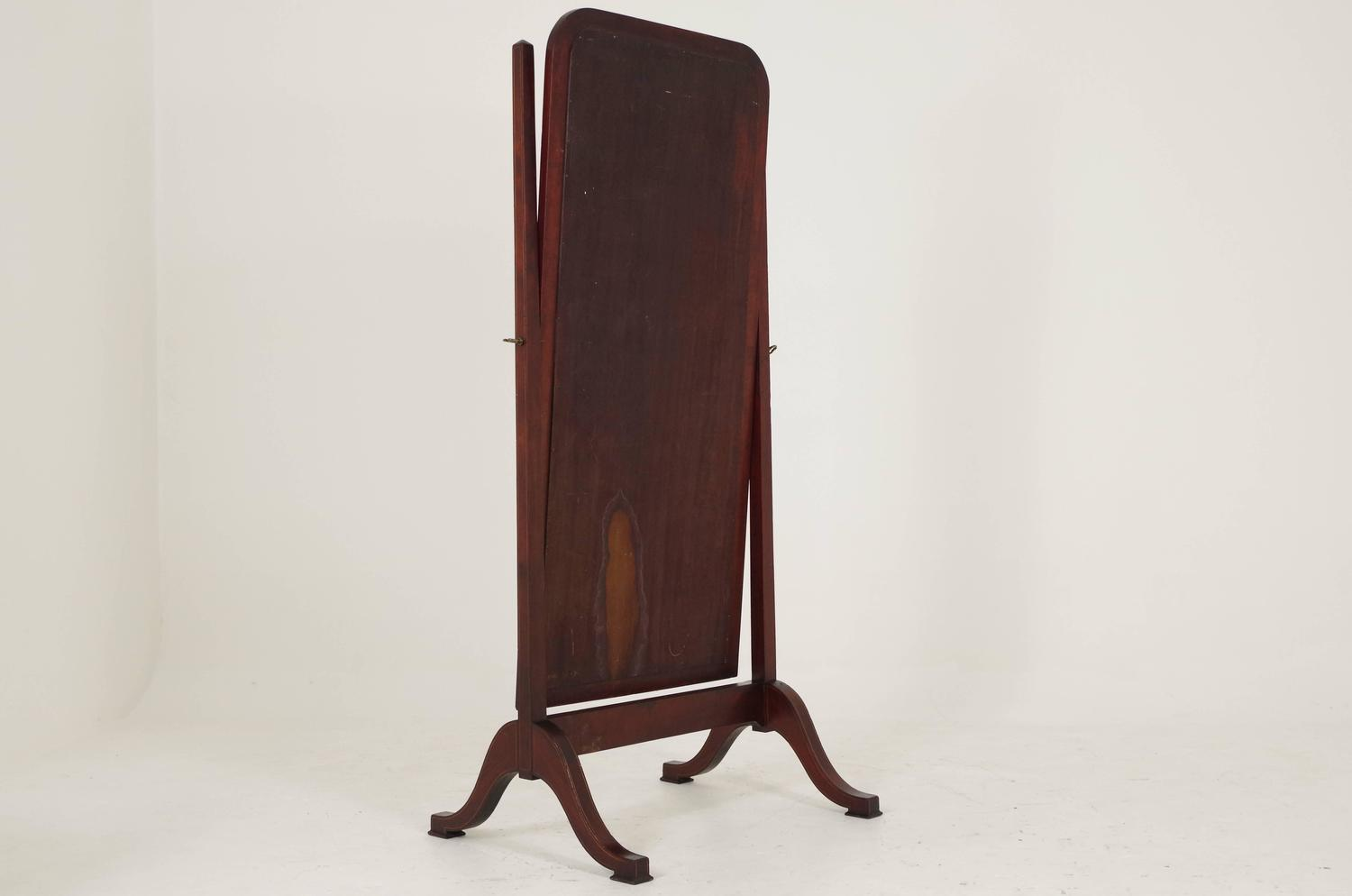 Antique scottish mahogany inlaid cheval dressing full for Vintage floor length mirror