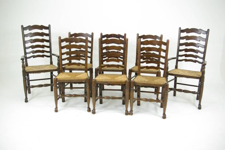 Set of eight Antique Ladder Back Chairs, Rush Seats, Six + Two Armchairs 2 - Set Of Eight Antique Ladder Back Chairs, Rush Seats, Six + Two
