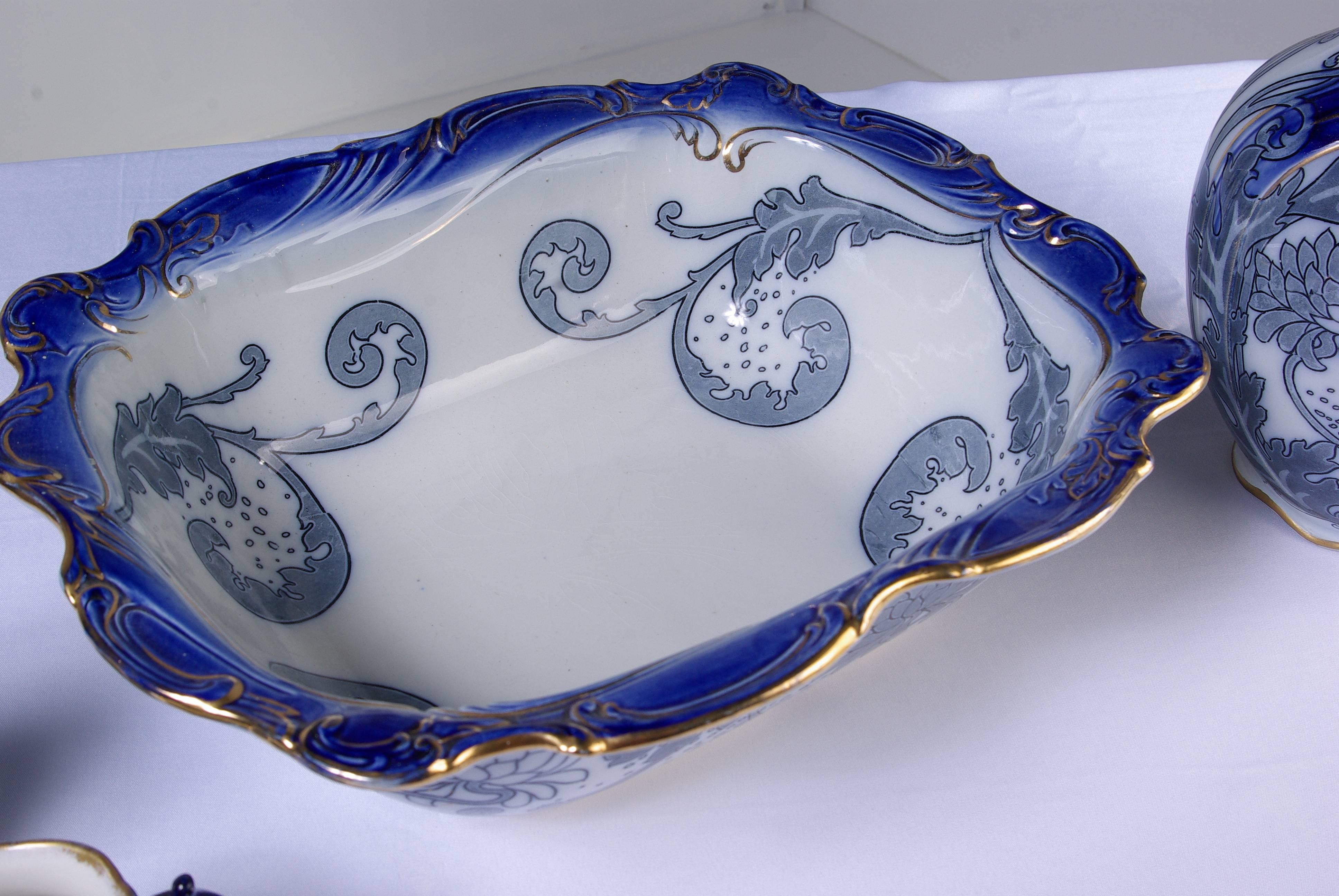 Antique Four Piece Royal Doulton Floral Blue Pitcher Wash Basin