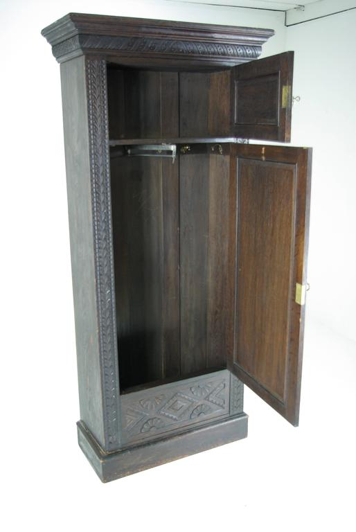 B391 Heavily Carved Victorian Oak Single Door Armoire Wardrobe Closet 2