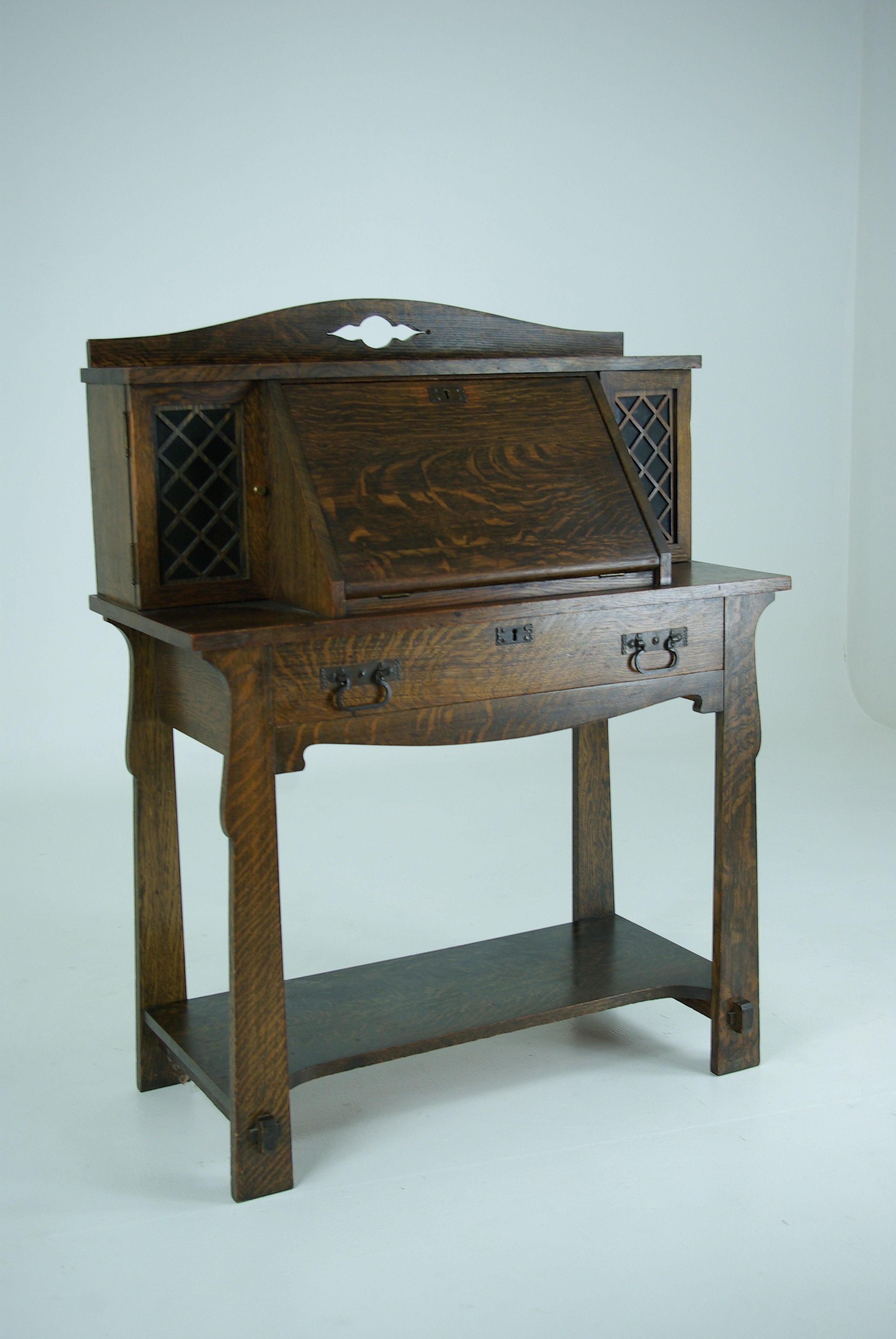 B411 Antique Solid Tiger Oak Mission Arts And Crafts Drop Front Desk At 1stdibs